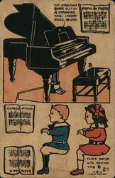 Fletcher cut out post card of kids playing piano Postcard