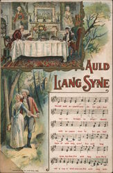 Auld Lang Syne - Musical score, and dinner-table and couple-in-the-forest scenes Postcard