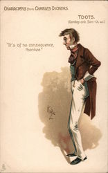 "Characters from Charles Dickens. Toots. ""Its of no consequence, thankee."" Signed Kyd Postcard"