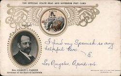 The Official State Seal and Governer Post Card 1903-1907 Hon. George C. Pardee Postcard