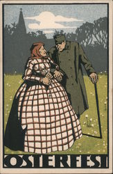 Osterfest - Man and woman walking in field Postcard