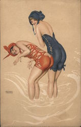 La Mer fleurie. Two bathing beauties in peak-a-boo suits. Postcard