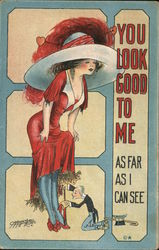 You look good to me As far as I can see-Little man examining ankles of tall woman. signed Carmichael Postcard