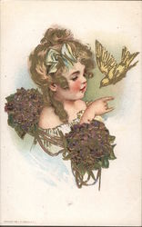 Young girl with violets holding hand out for dove - unsigned Maud Humphrey Postcard