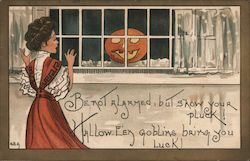 Halloween. Be not alarmed, but show your pluck! Haloow-een goblins bring you luck! Postcard