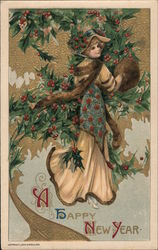 A Happy New Year. Girl with hand muff and holly. John Winsch Schmucker, 1910 Postcard