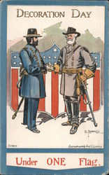 Decoration Day. Under one flag. General Lee Surrenders to General Grant. Signed C. Bunnell Postcard