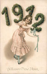 1912 A Happy New Year. Girl dancing with blue ribbon Postcard