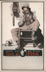Time to re-tire and get a Fisk. Policeman sleeping in rocker with dog at feet.