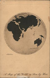 A map of the world, as seen by Him. Gibson Girl Face on Globe. No. 128 Postcard
