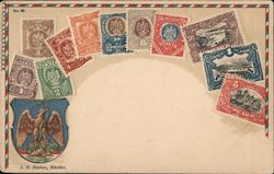 J. G. Hatton, Mexiko - Shield with eagle and snake, assorted stamps of Mexico Postcard