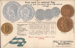 Collection of Coins with conversion chart Postcard