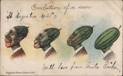 Evolution of a Coon. No. 2 Black man's head reverting to a watermelon.
