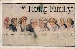 The Hump Family. Daisy, Will, Anna, Pap, Mam, Lotta, Tommy, May. Postcard