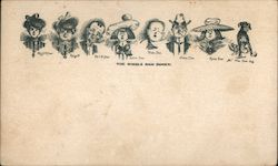 The Whole Dam Family. Sketches of Eight Members of the Dam Family including the Dam Dog Postcard