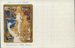 Original Collection JOB Calendrier 1897 Mucha Postcard