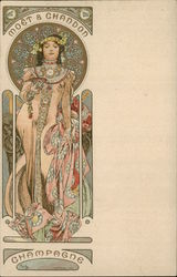 Mucha - Moet & Chandon Champagne - Woman holding Champagn glass Postcard