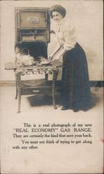 """Real Economy"" Gas Range. Woman cooking a meal"