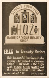 HQZ Beauty Parlor supplies display offer.