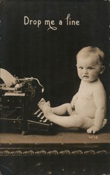 Drop me a line - Baby with Typewriter Postcard