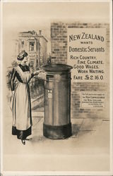 New Zealand wants Domestic Servants - Rich Country, Fine Climate, Good Wages, Work Waiting. £2.16.0