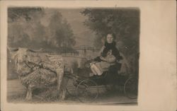 Montana State Fair - Girl in Goat Cart Postcard