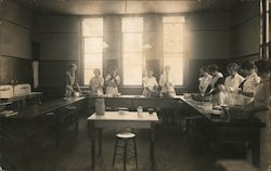 1913 Home Economics class room and students Postcard