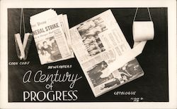 A century of progress. Corn cobs-newspapers-catalogue-toilet paper Postcard