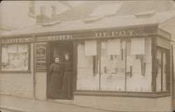 Ladies Work Depot. Two ladies in doorway Postcard