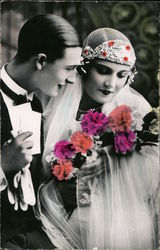 Art Deco Colorized bride and groom Postcard