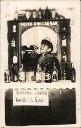 Silver Dollar Bar. Third rail hootch, two bits a a slug Postcard