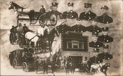 Rare! Engine Company 16, Firemen and Equipment Postcard