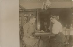 Two Women Playing Checkers Postcard