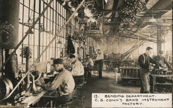 Bending Department. C.G. Conn's Band Instrument Factory Postcard