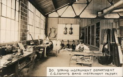 String Instrument Department. C. G. Conn's Band Instrument Factory. Postcard