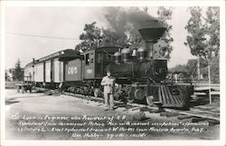 Col. Lyon is Engineer, also President of R.R. Train #7 Postcard