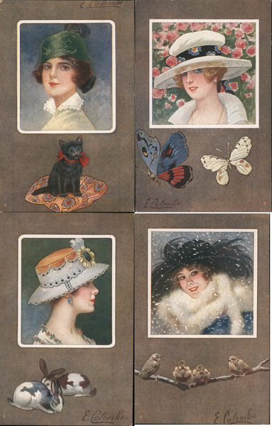 Set of 4: Women's Heads, Square Series 436 E. Colombo