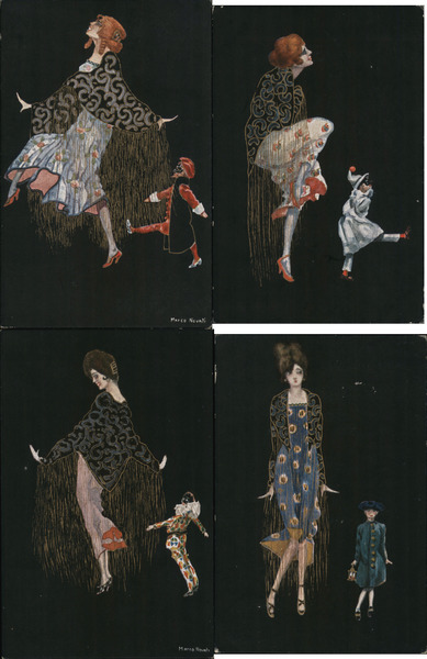 Lot of 4: Women with Puppets, Art Deco Marco Novati