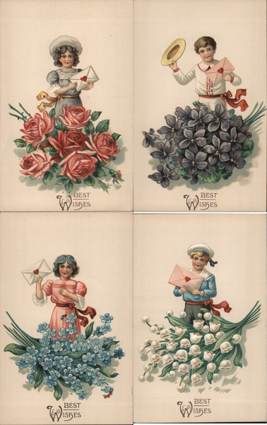 Set of 4: Children with Letters, Envelopes Flowers