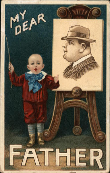 My Dear Father small child near an easel with a painting of a man