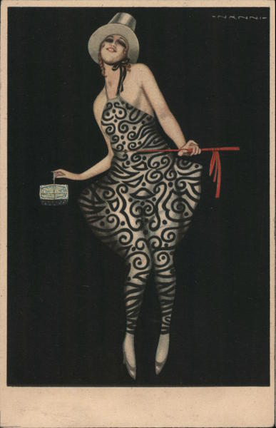 Lady with silver top hat, in black and silver dress, carrying a small box