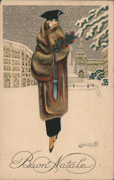 Buon Natale (Merry Christmas) - Lady in fur coat carries holly branch, walking in snow
