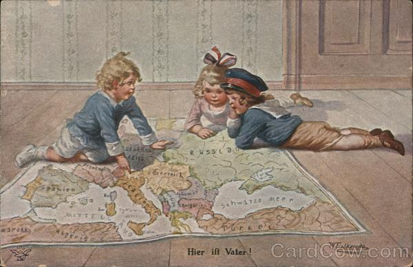 Hier ift Vater! (Here is Father) - Three children point to a spot on a large map on the floor