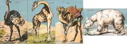Lot of 4: Cut-Out Stand-Up Animals Novelty Postcard