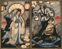 Set of Two: Italian Art Deco Asian Couple Postcard