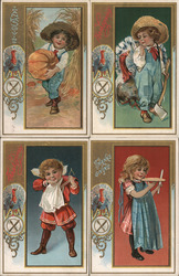 Set of 4: Children Thanksgiving Postcard