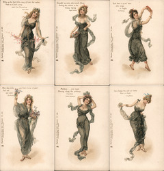 Set of 6: Women, Austin Dobson Postcard