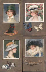 Set of 4: Women's Heads, Square Series 436 Postcard