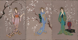 Rare Set of 3: Asian Women, Itlaian, Art Deco Cherry Blossems Postcard