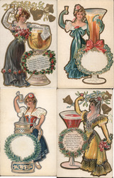 Lot of 4: New Years Toast Series Postcard